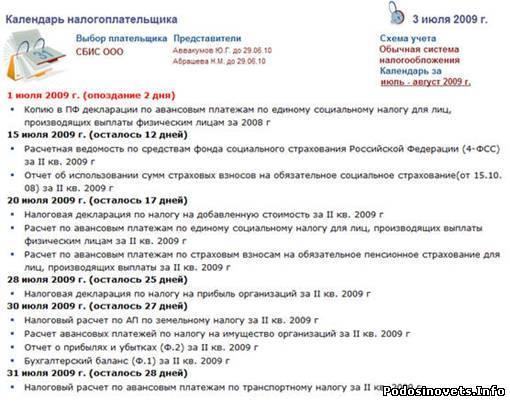 календарь налогоплательщика на 2013 год: